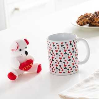 Κούπα με Καρδιές και Λούτρινο Αρκουδάκι Love