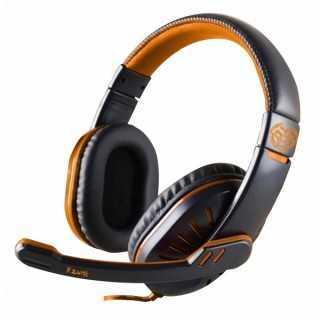 Ακουστικά με Μικρόφωνο για Gaming iggual ONAJI Μαύρο Πορτοκαλί