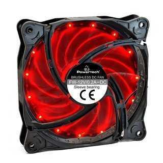 POWERTECH LED ανεμιστήρας PT-908, 120mm, 3pin/molex & 4 βίδες, κόκκινο