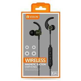 YISON Bluetooth earphones E14 με μικρόφωνο HD, Magnetic, 10mm, μαύρα