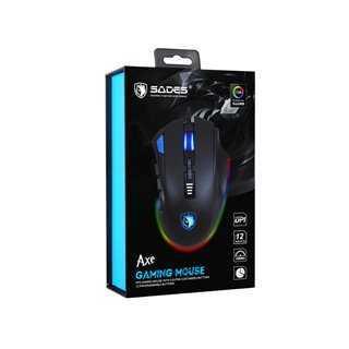 SADES Ενσύρματο Gaming ποντίκι Axe, οπτικό, 12 πλήκτρα, 10000 DPI, μαύρο