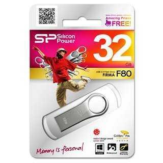 SILICON POWER USB Flash Drive Firma F80, 32GB, USB 2.0, Silver