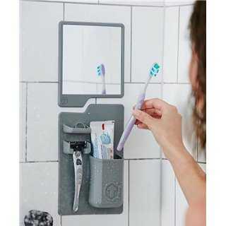 Σετ καθρέπτης και θήκη οδοντόβουρτσας από σιλικόνη TMV-0001, γκρι