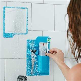 Σετ καθρέπτης και θήκη οδοντόβουρτσας από σιλικόνη TMV-0002, μπλε