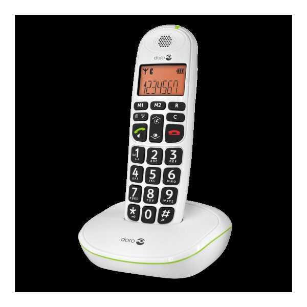DORO PhoneEasy 100w White ασύρματο τηλέφωνο, +30dB φωνή, +90dB κουδούνι και μεγάλα πλήκτρα