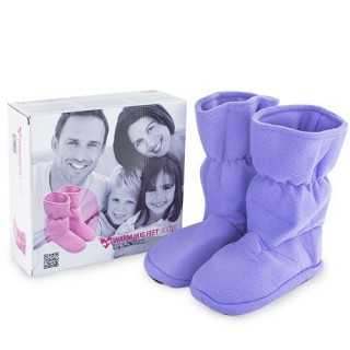 Warm Hug Feet Θερμαινόμενες Παντόφλες Μπότες Μωβ Small
