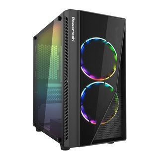 POWERTECH Gaming case PT-839, tempered glass, 3x 120mm fans (2x RGB)