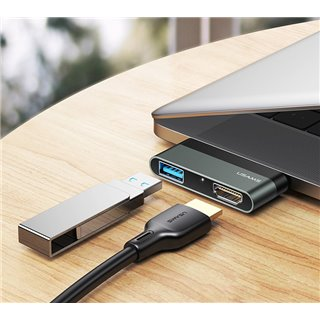 USAMS USB Type-C hub SJ462, 1x USB 3.0, 1x HDMI, 4K, γκρι