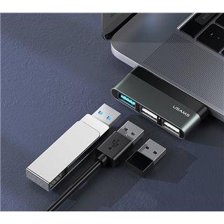 USAMS USB Type-C hub SJ461, 1x USB 3.0, 2x USB 2.0, γκρι