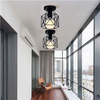 POWERTECH φωτιστικό οροφής HLL-0001, E27, μεταλλικό, μαύρο