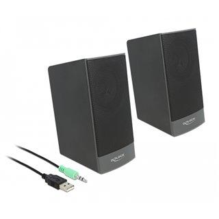 DELOCK ηχεία 2.0 27001, stereo, USB & 3.5mm, μαύρα