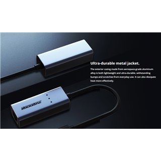 ROCKROSE αντάπτορας Type-C σε Ethernet Infinity E, μεταλλικό, γκρι-μαύρο