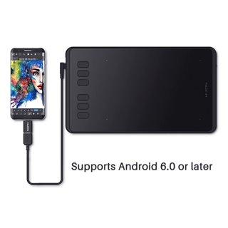 "HUION pen tablet H640P, 6.3 x 3.9"", battery-free pen, 6 πλήκτρα, μαύρο"