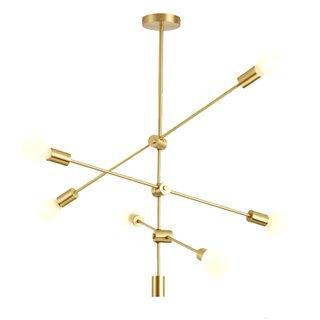 POWERTECH φωτιστικό οροφής HLL-0034, 6x E27, 100x40cm, μεταλλικό, χρυσό