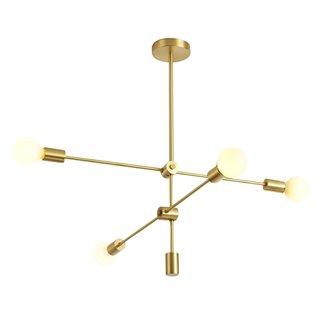 POWERTECH φωτιστικό οροφής HLL-0035, 4x E27, 100x40cm, μεταλλικό, χρυσό