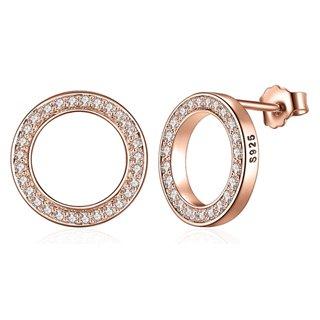 BAMOER σκουλαρίκια καρφωτά SCE600 σε σχέδιο κύκλου, ασήμι 925, ροζ χρυσό
