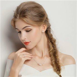 BAMOER σκουλαρίκια καρφωτά PAS489 με λευκή πέρλα, ασήμι 925, ασημί