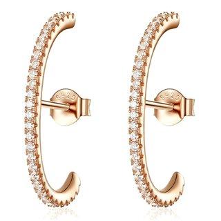BAMOER σκουλαρίκια καρφωτά SCE548 hug λοβού, ασήμι 925, ροζ χρυσό