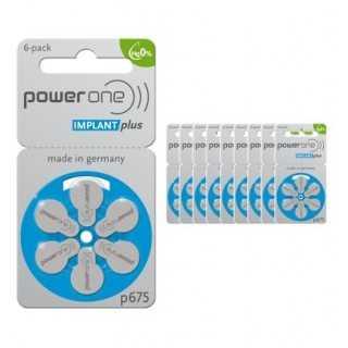 PowerOne μπαταρίες για κοχλιακό εμφύτευμα p675 Implant Plus (60 τμχ)