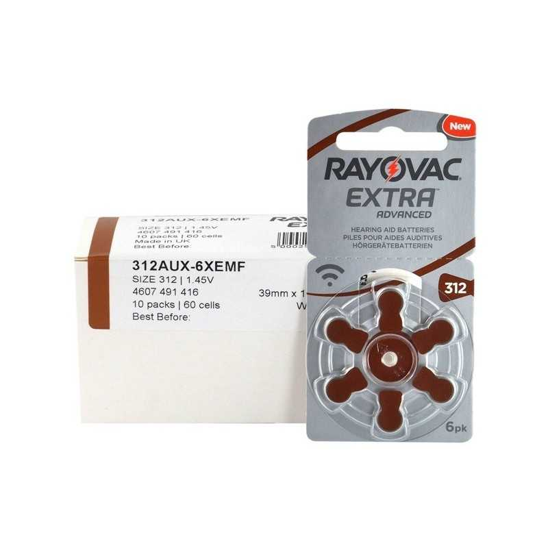 Μπαταρίες ακουστικών Rayovac Extra Advanced 60 τεμάχια Νο 312